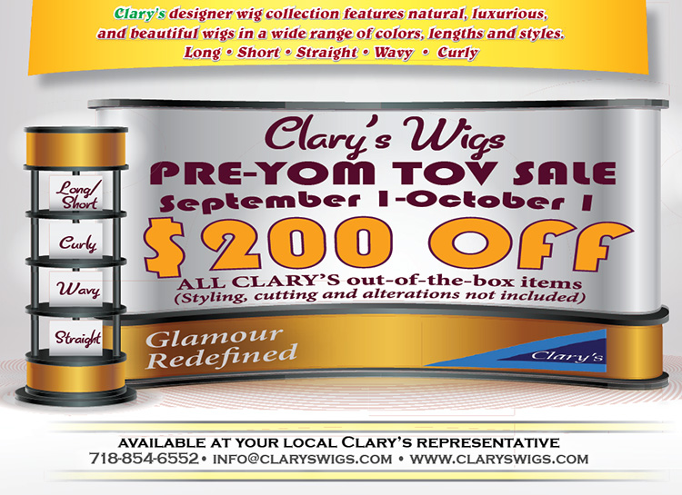 Clary's Wigs Pre-Yom Tov Sale: $200 off September 1 - October 1